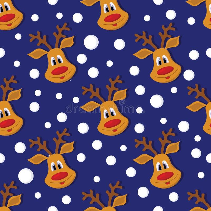 Naadloos Kerstmispatroon met herten en sneeuwvlokken op blauwe achtergrond vector illustratie