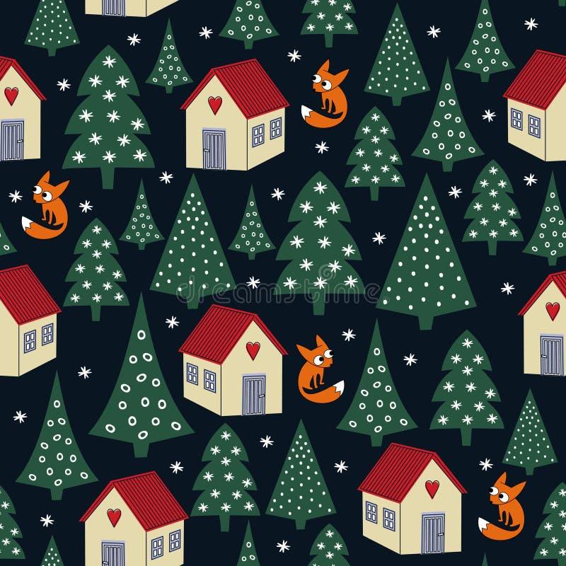 Naadloos Kerstmispatroon van de nachtwinter - gevarieerde Kerstmisbomen, huizen, sneeuw en vossen vector illustratie