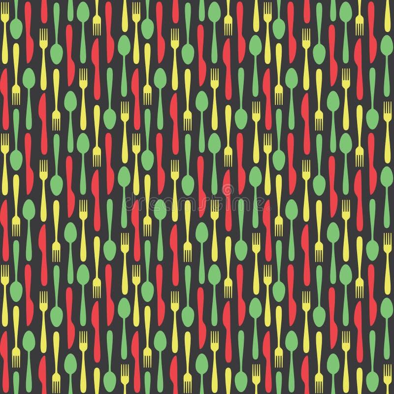 Naadloos Keukenbestek Gekleurd Patroon stock illustratie
