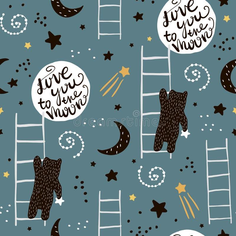 Naadloos kinderachtig patroon met beren, sterren en maan Creatieve jonge geitjestextuur voor stof, het verpakken, textiel, behang stock illustratie