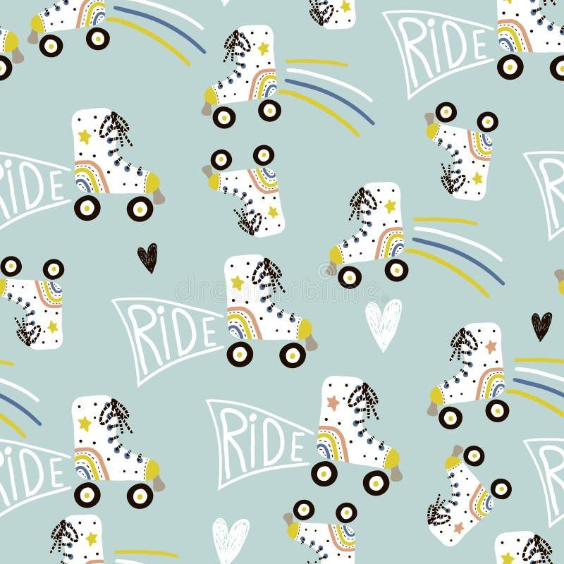 Naadloos kinderachtig patroon met kleurrijke rolschaatsen De creatieve Skandinavische textuur van stijljonge geitjes voor stof, h royalty-vrije stock afbeelding