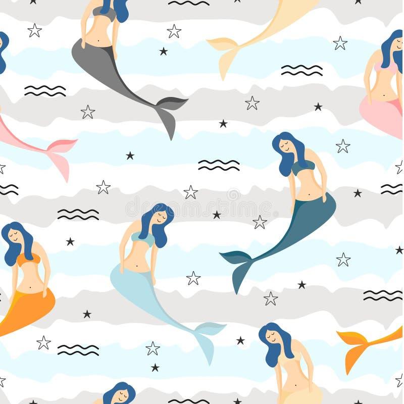 Naadloos kinderachtig patroon met leuk het ontwerpthema van de meerminnen kleurrijk zomer Onderzeese vector in textuur Perfection royalty-vrije illustratie