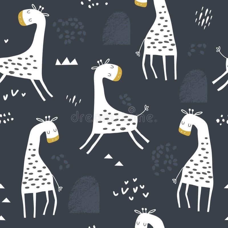 Naadloos kinderachtig patroon met leuke giraf en hand getrokken vormen Creatieve jonge geitjestextuur voor stof, het verpakken, t royalty-vrije illustratie