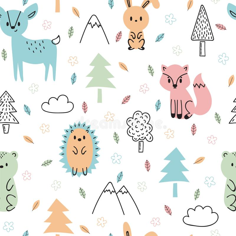 Naadloos kinderachtig patroon met leuke hand getrokken bosdieren Ontwerptextuur voor stof, het verpakken, textiel, decor Bos royalty-vrije illustratie