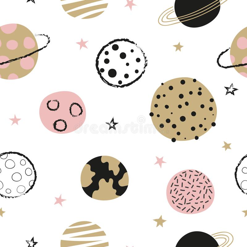 Naadloos kinderachtig ruimtepatroon met hand getrokken planeten royalty-vrije illustratie