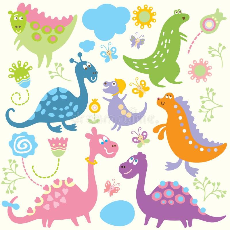 Naadloos kinderlijk patroon - dinosaurus royalty-vrije illustratie