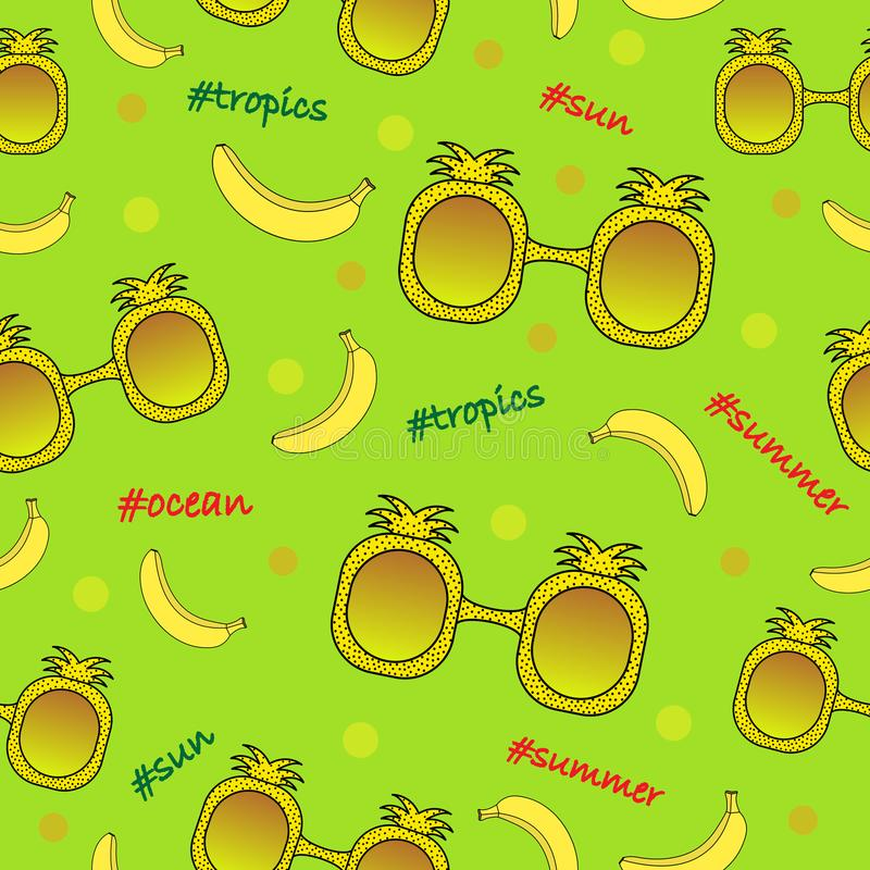 Naadloos kleuren tropisch patroon met zonnebril en bananen vector illustratie