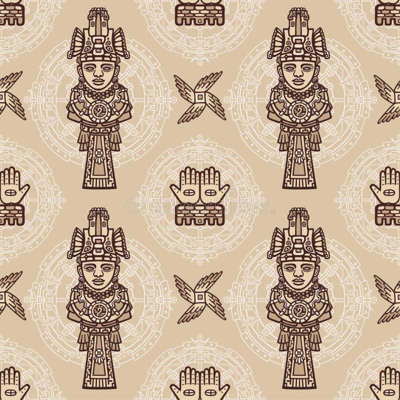 Naadloos kleurenpatroon van decoratieve die elementen op motieven van kunst Inheemse Indiaan worden gebaseerd stock illustratie