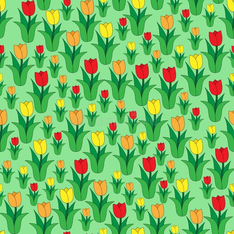 Naadloos kleurenpatroon van multi-colored tulpen royalty-vrije illustratie