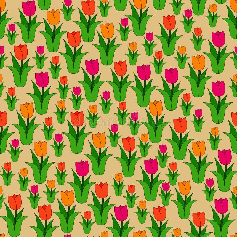 Naadloos kleurenpatroon van multi-colored tulpen vector illustratie