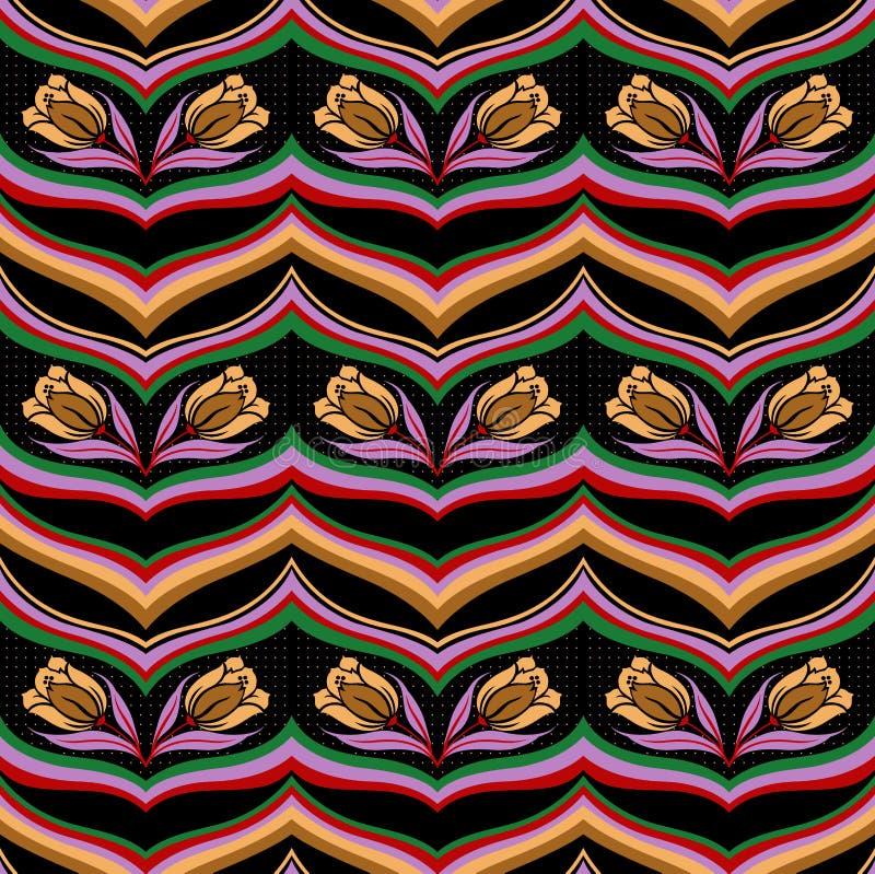 Naadloos kleurrijk abstract golf bloemenpatroon stock illustratie