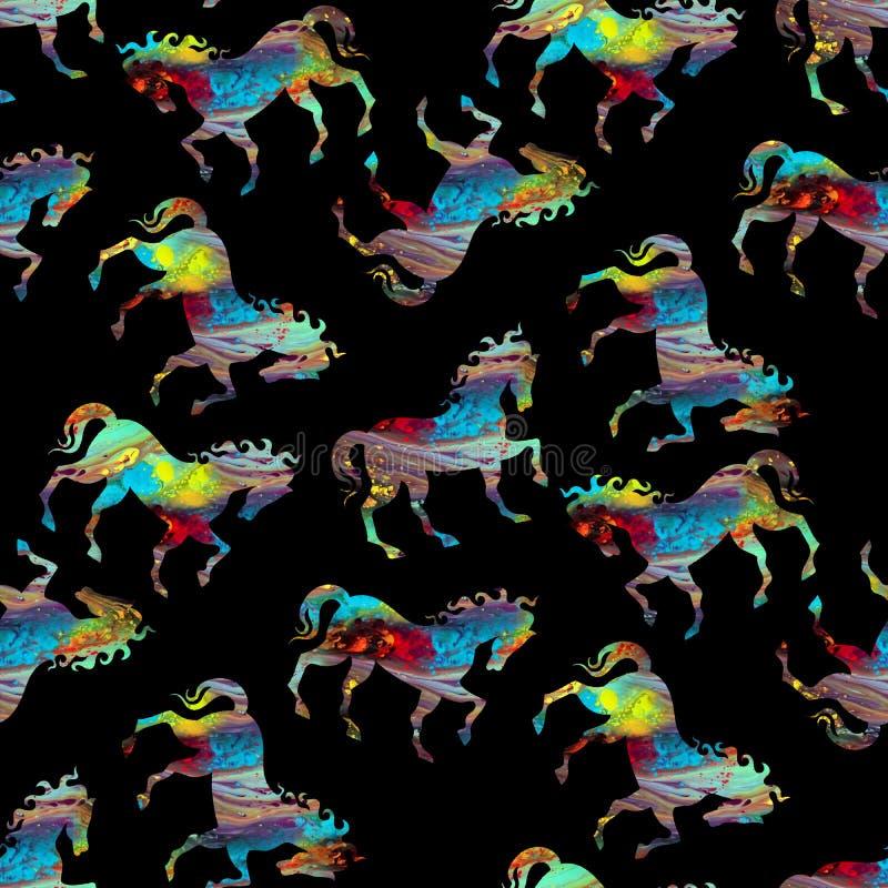 Naadloos kleurrijk abstract paardpatroon met zwarte kleur vector illustratie