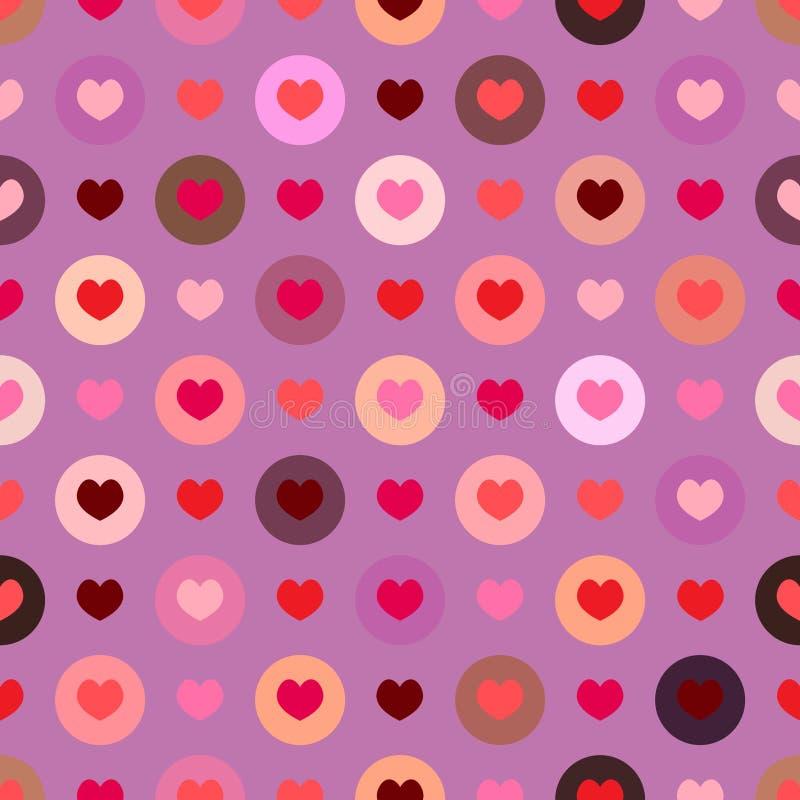 Naadloos kleurrijk het themapatroon van de harten vectorliefde in cirkels zoals stippen geschikt voor valentijnskaartendag met pu vector illustratie