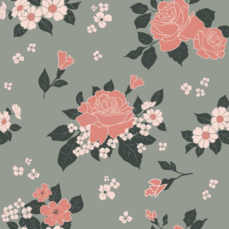 Naadloos kleurrijk luxepatroon - rozen in bloesem op grijze achtergrond Vector illustratie royalty-vrije illustratie