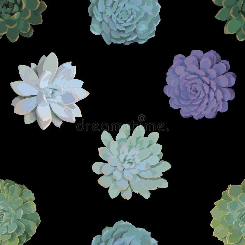 Naadloos kleurrijk patroon met succulents stock illustratie