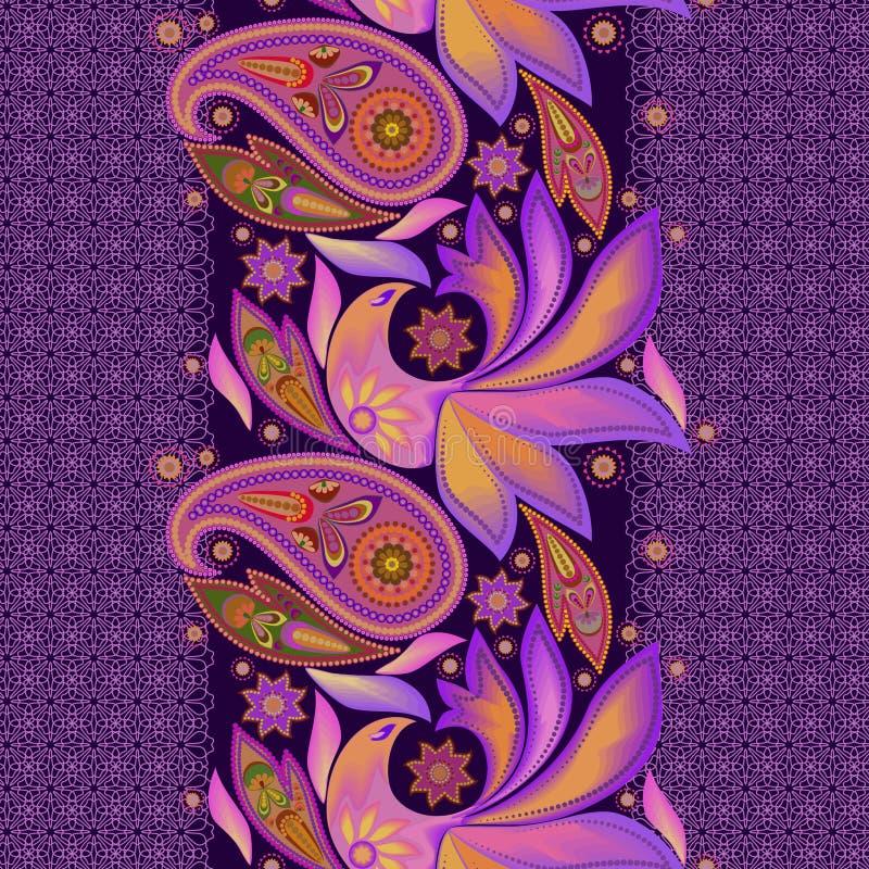 Naadloos kleurrijk verticaal kantpatroon met Paisley Het kan voor prestaties van het ontwerpwerk noodzakelijk zijn stock illustratie