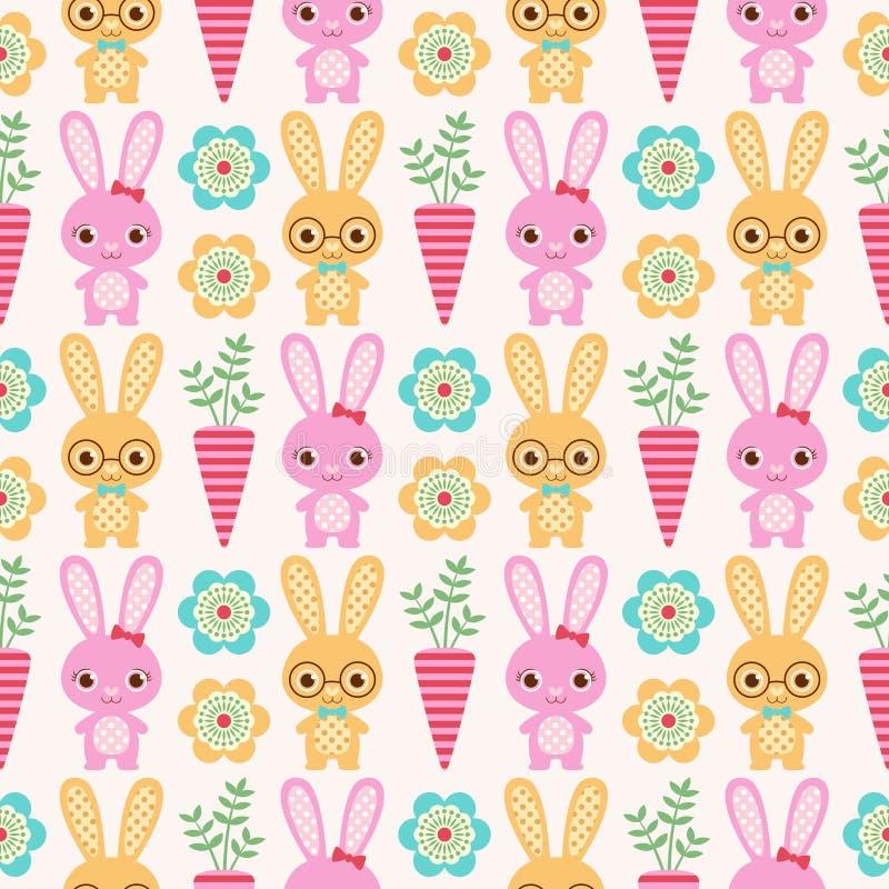 Naadloos konijnpatroon vector illustratie