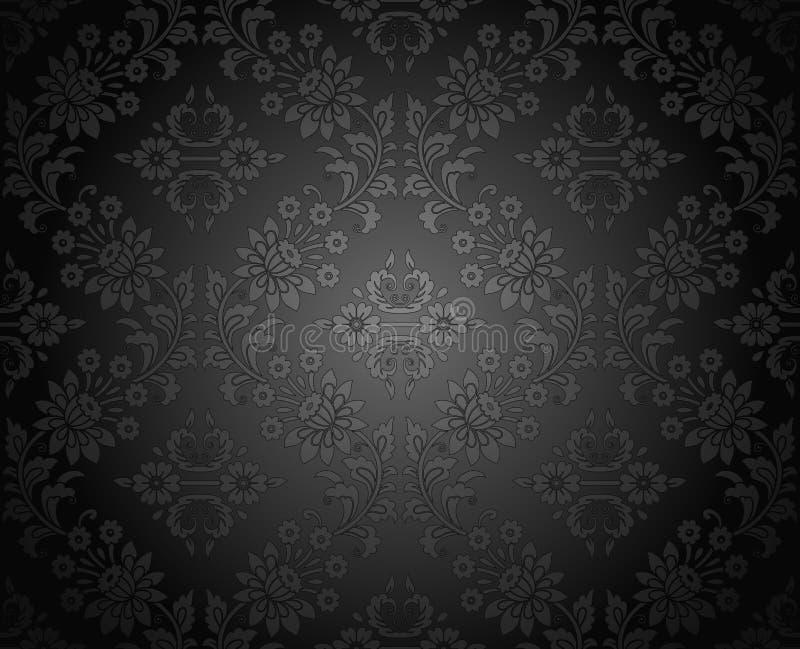 Naadloos koninklijk donker damastbehang stock illustratie