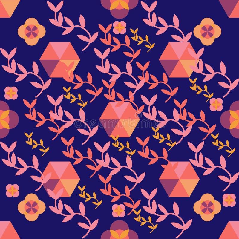 Naadloos koraalpatroon op purpere geometrisch royalty-vrije illustratie