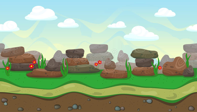 Naadloos landschap met stenen voor spelontwerp royalty-vrije illustratie