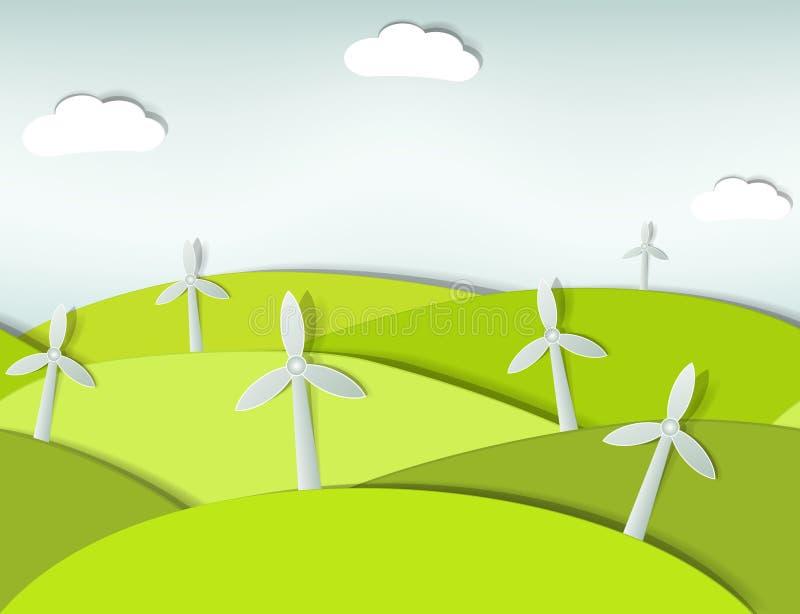 Naadloos landschap met windturbines vector illustratie