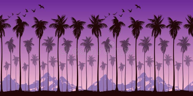 Naadloos landschapspatroon met silhouetten van palmen op een achtergrond van helder purpere zonsonderganghemel en bergen royalty-vrije illustratie