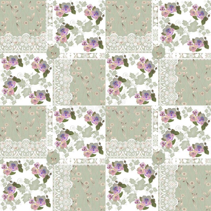 Naadloos lapwerkpatroon met bloemen en kant stock illustratie