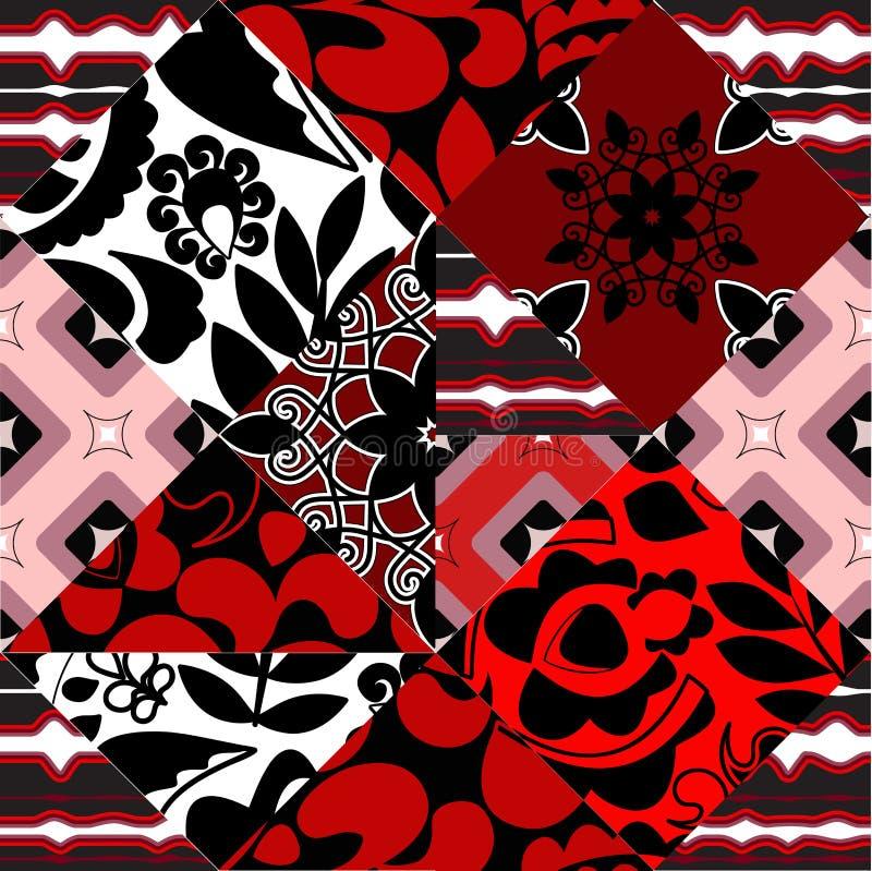 Naadloos lapwerkpatroon met bloemen - voorraad stock illustratie