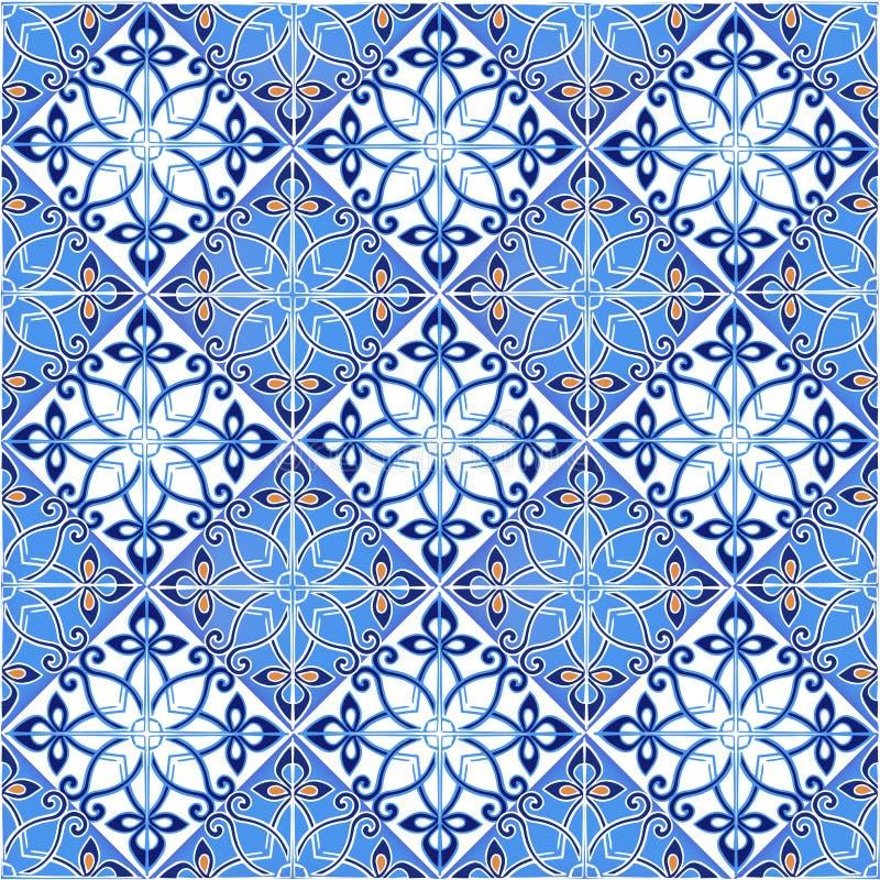 Behang Met Portugese Tegel: Naadloos Lapwerkpatroon Van Marokkaanse, Portugese Tegels