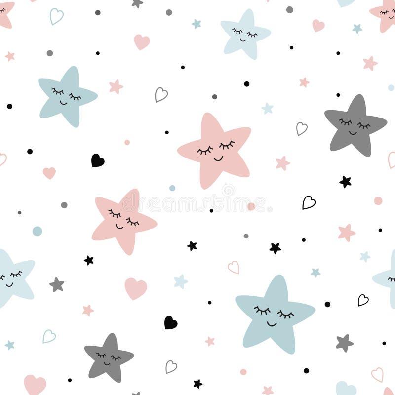 Naadloos leuk kinderenpatroon met van de de Jonge geitjestextuur van sterrenharten van het fabribehang Vectorillustratie als acht vector illustratie