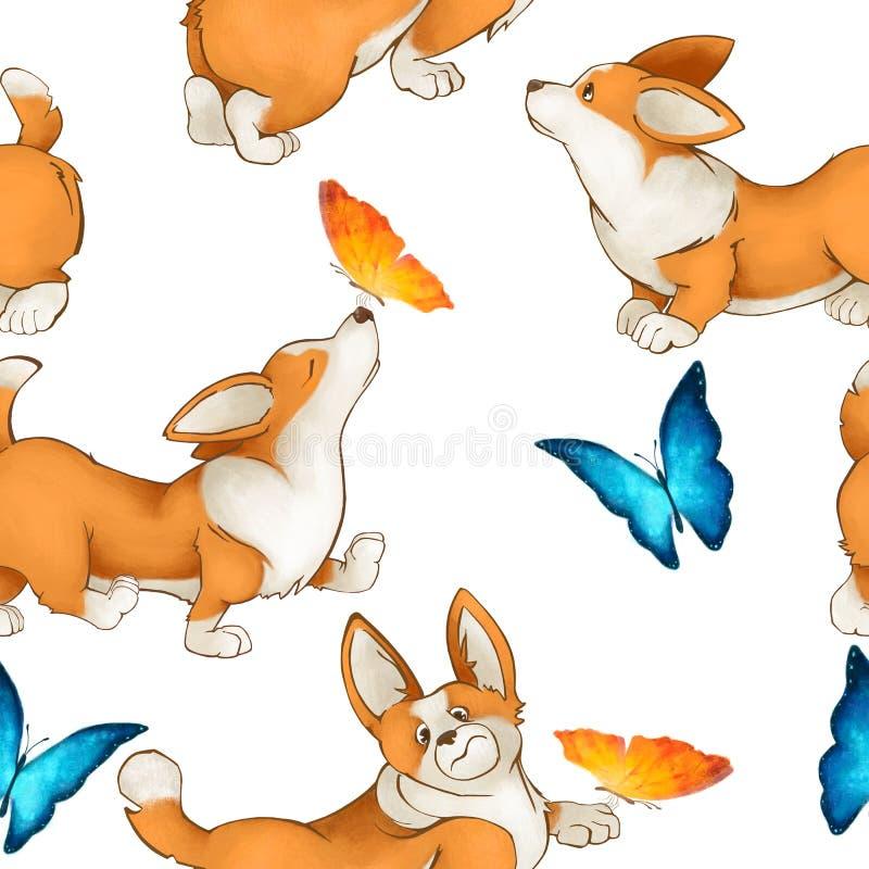 Naadloos leuk patroon met honden van rassencorgi en vlinders De zomerstemming met puppy op een witte achtergrond royalty-vrije illustratie