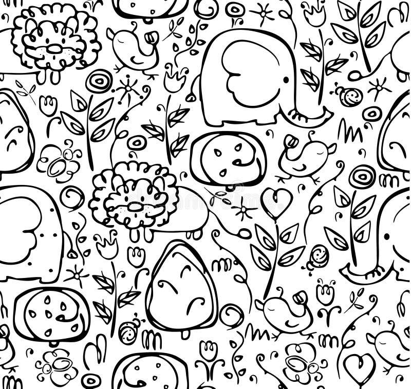Naadloos leuk patroon van flora en fauna stock illustratie
