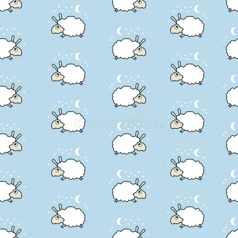 Naadloos leuk schapenpatroon stock illustratie