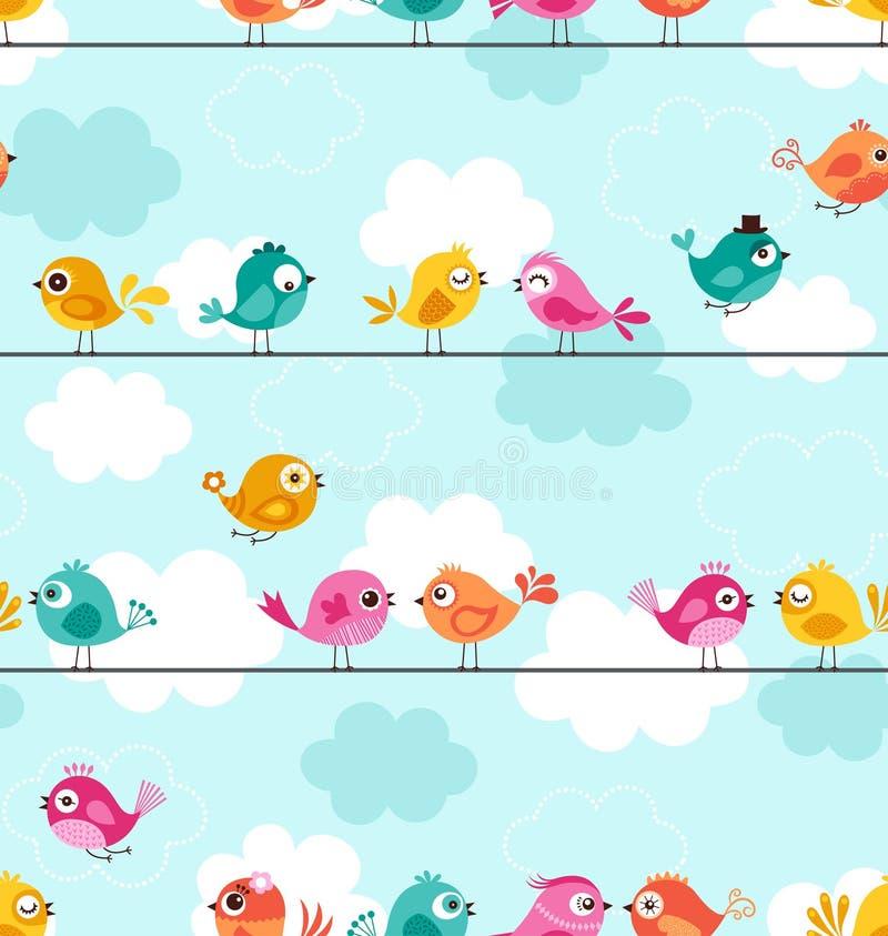 Naadloos leuk vogelspatroon royalty-vrije illustratie