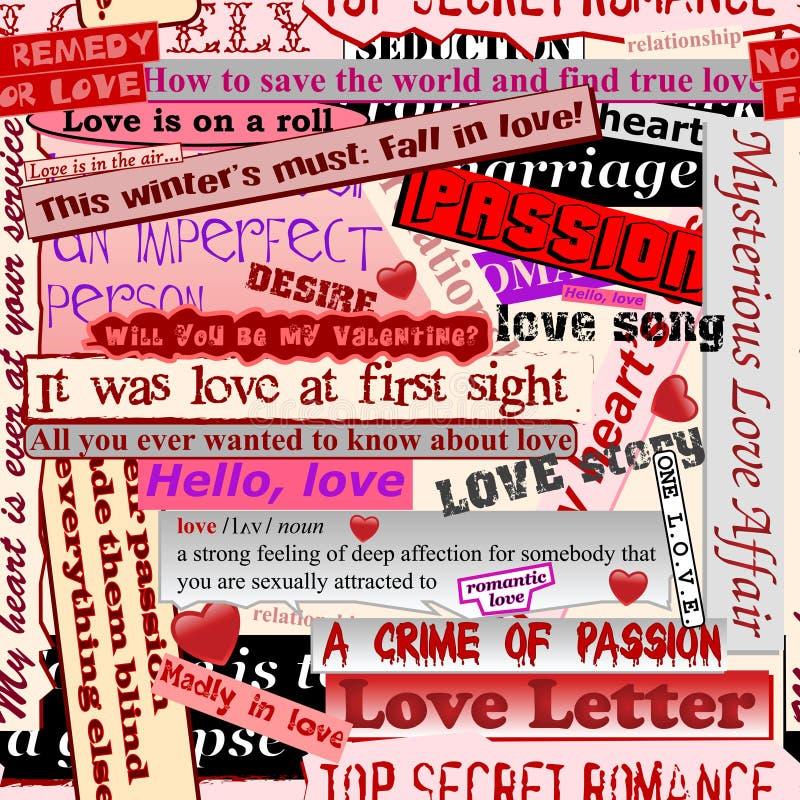 Naadloos liefdepatroon stock illustratie
