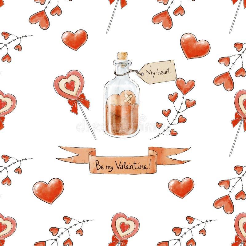 Naadloos liefdepatroon Decoratieve achtergrond voor de Dag van Valentijnskaarten Harten, liefdedrankje en het van letters voorzie vector illustratie