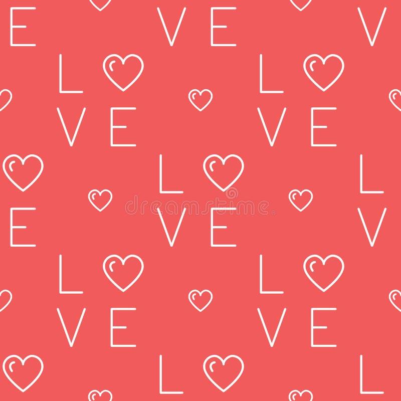 Naadloos liefdepatroon, tekstliefde en harten op een rode achtergrond Het dunne ontwerp van de lijnkunst, Vectorillustratie vector illustratie
