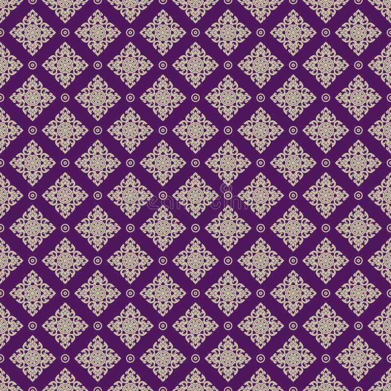 Naadloos Lijn Thais gouden patroon op purpere achtergrond, de Kunsten van Thailand, Thais patroon vector illustratie