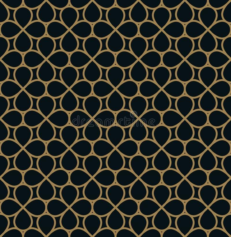 Naadloos lineair patroon met de kruising van gebogen lijnen met gouden colo royalty-vrije illustratie