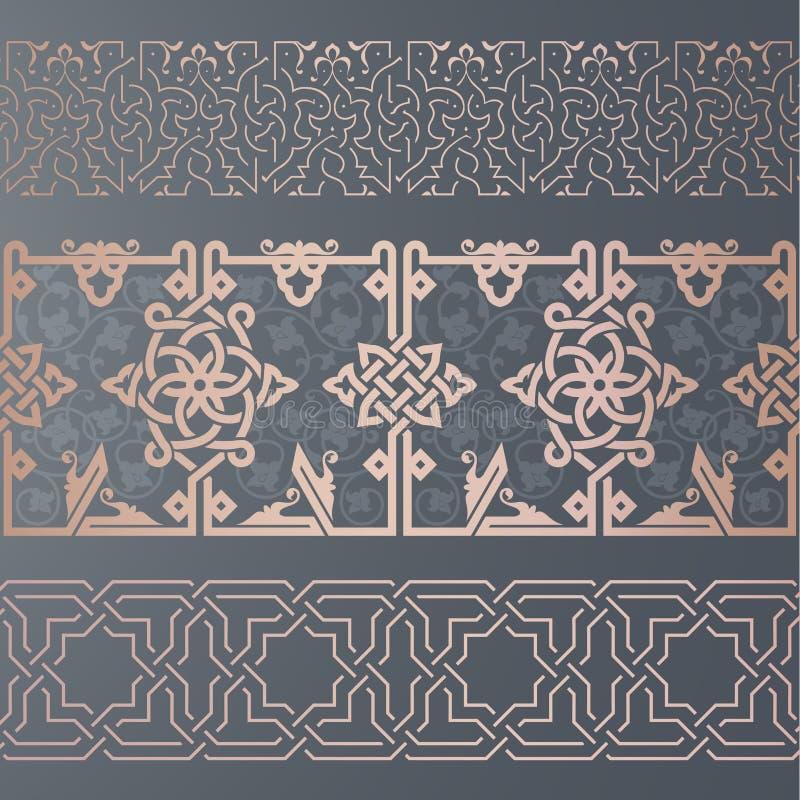 Naadloos lintornament in oosters art. royalty-vrije illustratie