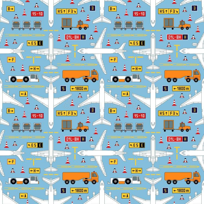 Naadloos luchtvaartpatroon met vliegtuigen en luchthavenvoertuigen vector illustratie