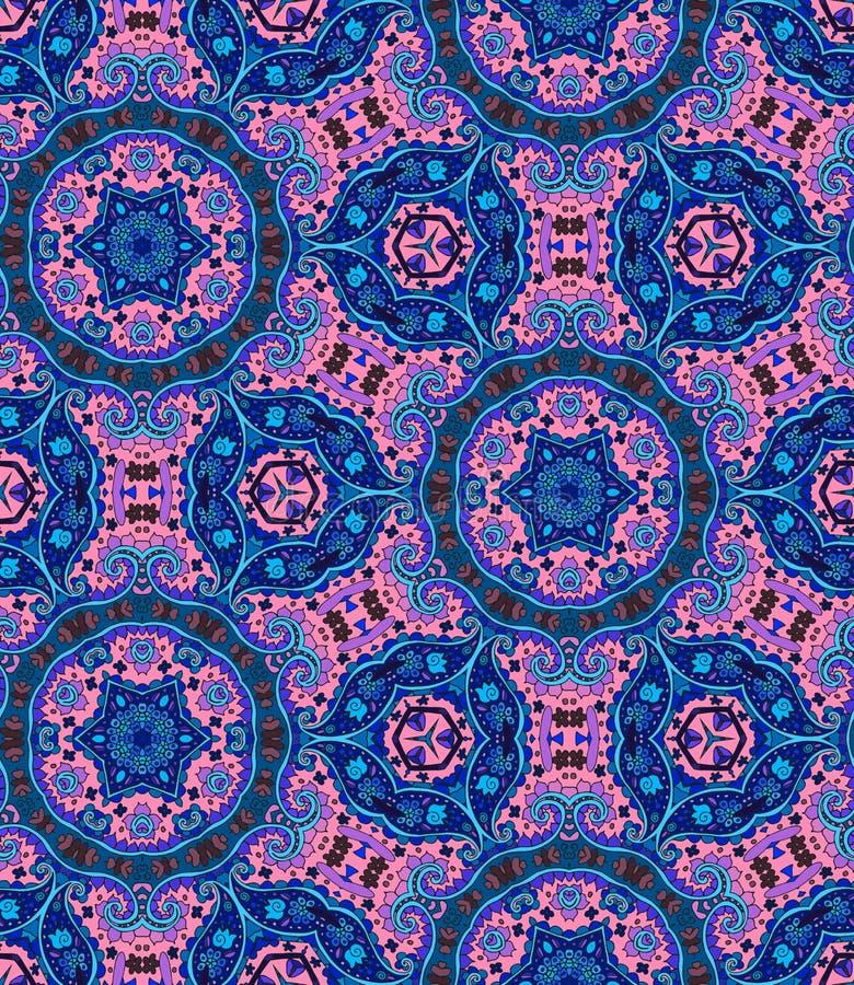 Naadloos mandalapatroon Gedetailleerde siercaleidoscoop Ingewikkelde achtergrond in etnische stijl royalty-vrije illustratie