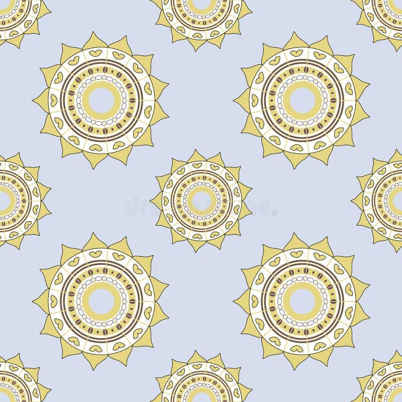Naadloos mandalapatroon in koele schaduwen op lichtblauwe achtergrond Aziatische Stijl Achtergrond voor productie, textiel of boe vector illustratie