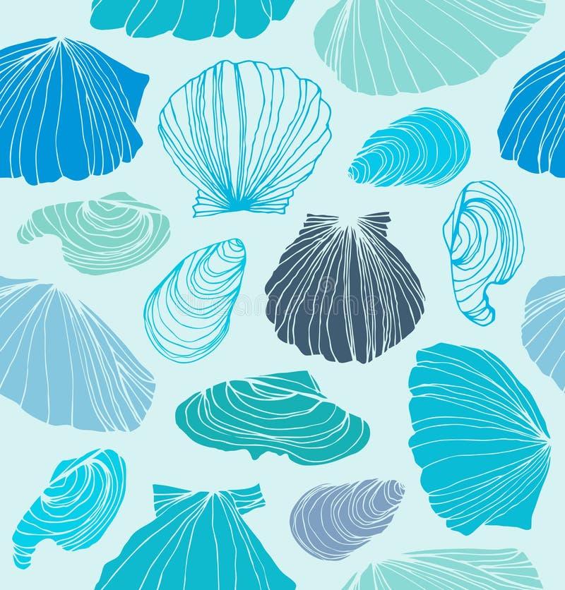 Naadloos marien patroon met shells Lichtblauwe grafische achtergrond met zeeschelpen royalty-vrije illustratie