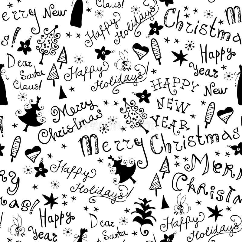 Naadloos met de hand geschreven patroon met Kerstmisuitdrukking royalty-vrije illustratie
