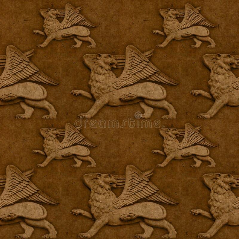 Naadloos met gevleugelde leeuwen stock illustratie