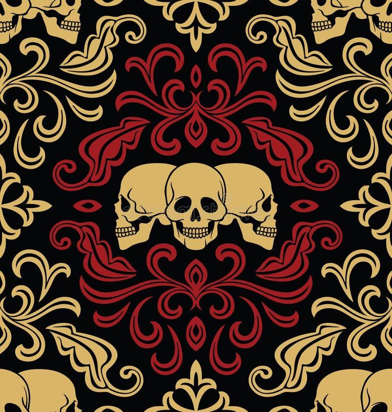Naadloos met schedels stock illustratie