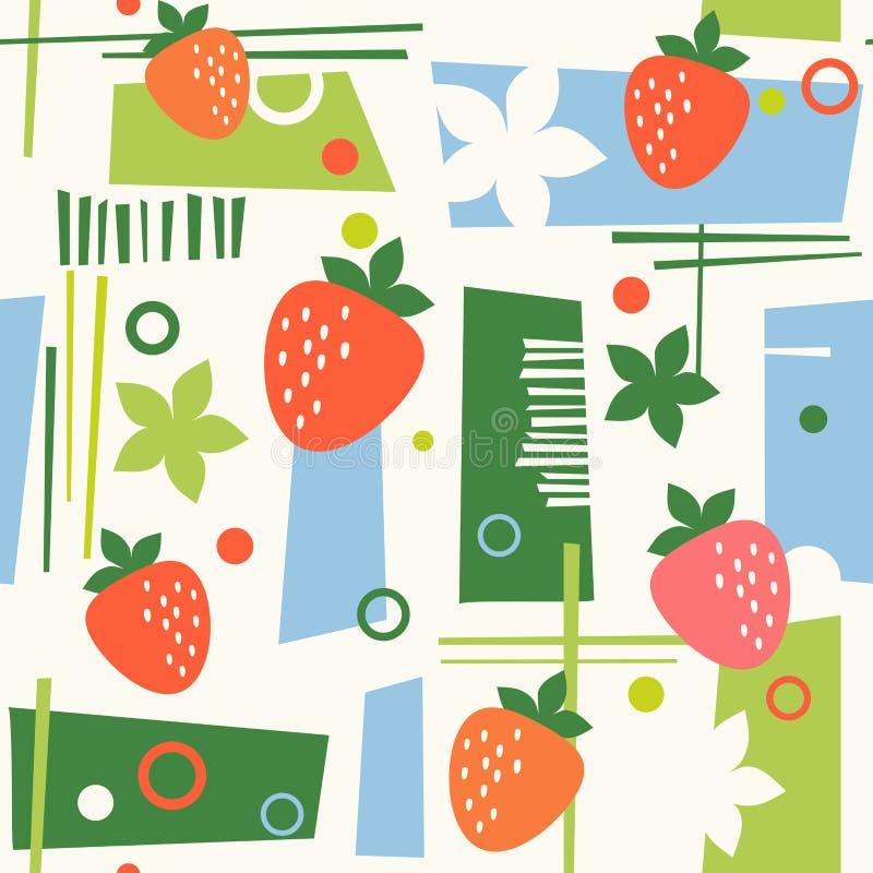 Naadloos midden eeuw modern zomerpatroon met aardbeien royalty-vrije illustratie