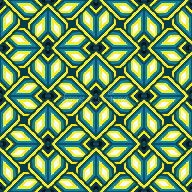 Naadloos modern geometrisch patroon van wintertaling, gele, witte en zwarte schaduwen royalty-vrije illustratie