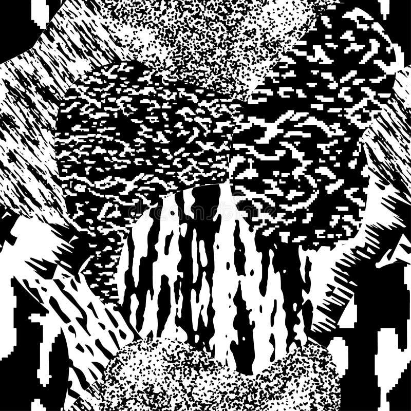 Naadloos modern geweven, zwart-wit grungepatroon Achtergrond met veelkleurig combinaties grafisch ornament EPS10 stock illustratie
